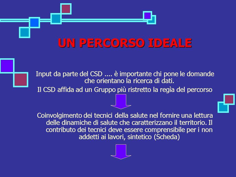 UN PERCORSO IDEALE Input da parte del CSD....
