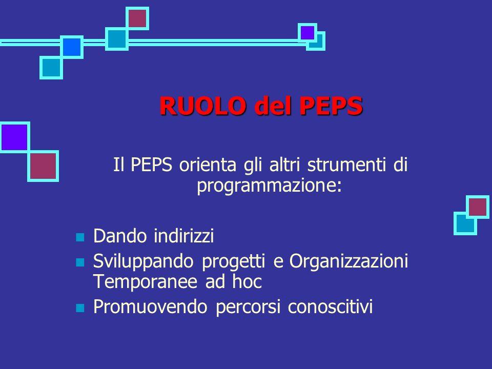 RUOLO del PEPS Il PEPS orienta gli altri strumenti di programmazione: Dando indirizzi Sviluppando progetti e Organizzazioni Temporanee ad hoc Promuovendo percorsi conoscitivi