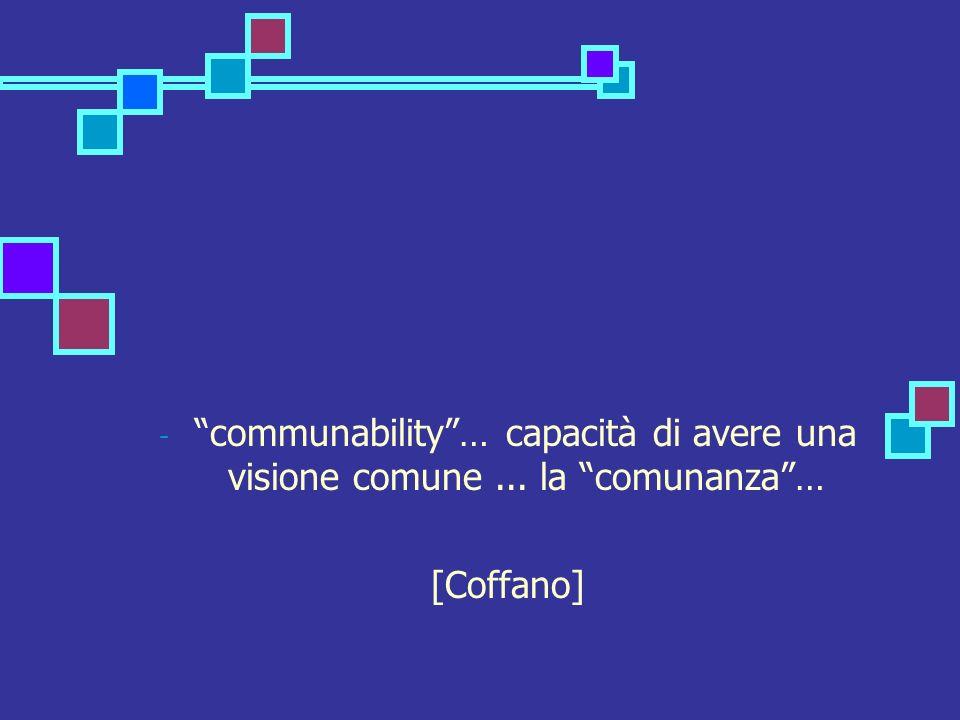 - communability… capacità di avere una visione comune... la comunanza… [Coffano]