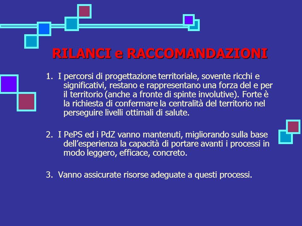 RILANCI e RACCOMANDAZIONI 1. I percorsi di progettazione territoriale, sovente ricchi e significativi, restano e rappresentano una forza del e per il