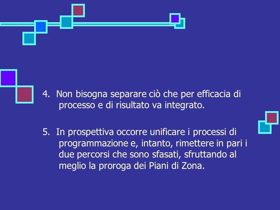 4. Non bisogna separare ciò che per efficacia di processo e di risultato va integrato. 5. In prospettiva occorre unificare i processi di programmazion