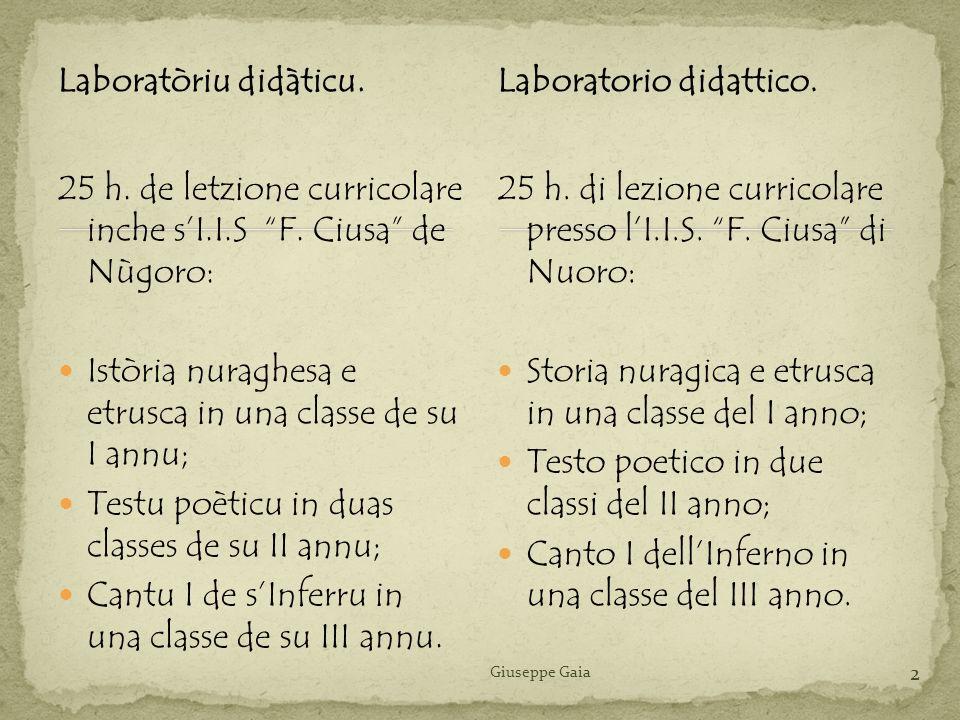 Laboratòriu didàticu. 25 h. de letzione curricolare inche sI.I.S F. Ciusa de Nùgoro: Istòria nuraghesa e etrusca in una classe de su I annu; Testu poè
