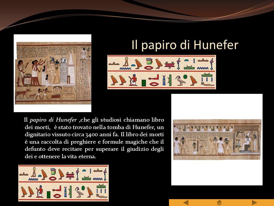 LA SCRITTURA Gli scribi scrivevano su fogli ricavati dalla canna di papiro. I segni della scrittura egizia sono chiamati GEROGLIFICI, veri e propri di