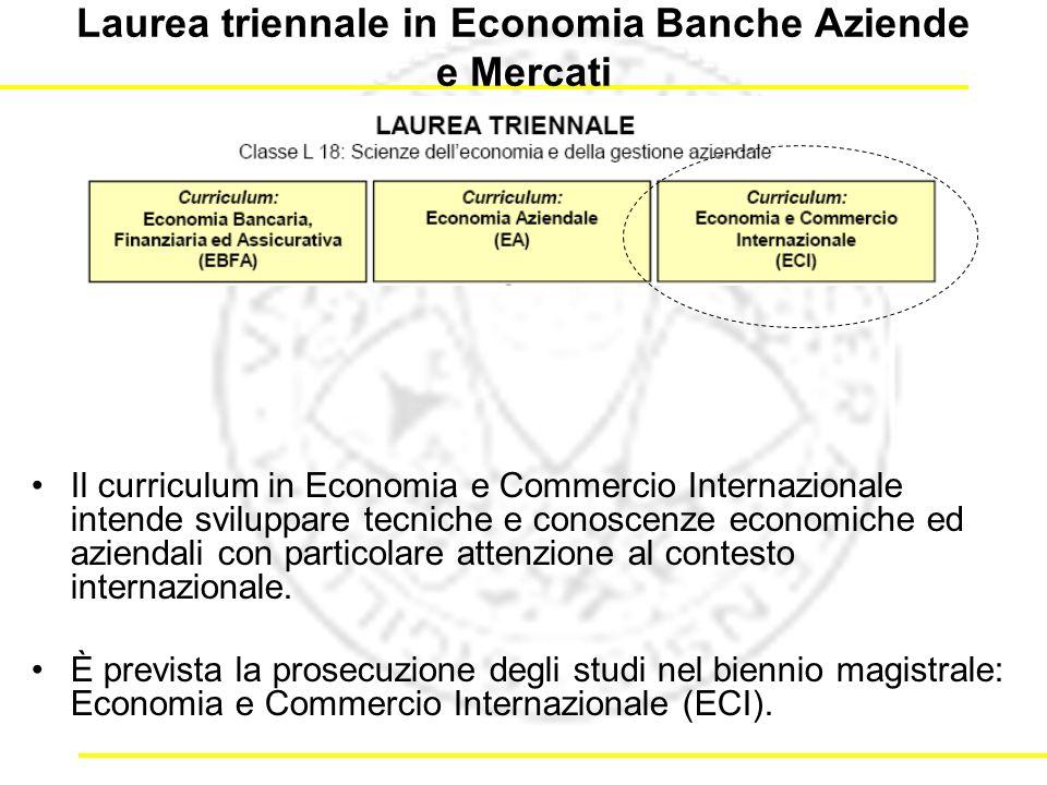 Laurea triennale in Economia Banche Aziende e Mercati Il curriculum in Economia e Commercio Internazionale intende sviluppare tecniche e conoscenze economiche ed aziendali con particolare attenzione al contesto internazionale.