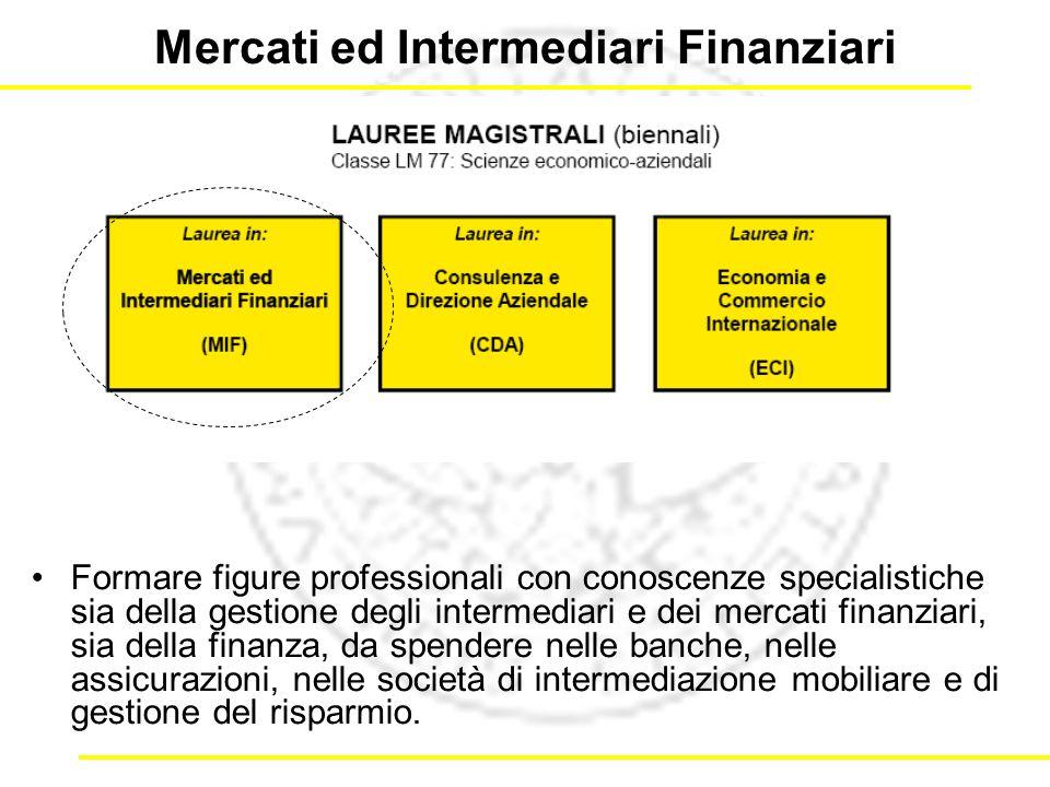 Mercati ed Intermediari Finanziari Formare figure professionali con conoscenze specialistiche sia della gestione degli intermediari e dei mercati finanziari, sia della finanza, da spendere nelle banche, nelle assicurazioni, nelle società di intermediazione mobiliare e di gestione del risparmio.