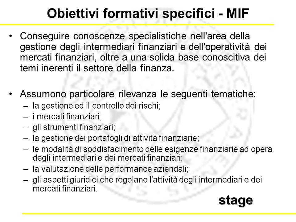 Conseguire conoscenze specialistiche nell area della gestione degli intermediari finanziari e dell operatività dei mercati finanziari, oltre a una solida base conoscitiva dei temi inerenti il settore della finanza.