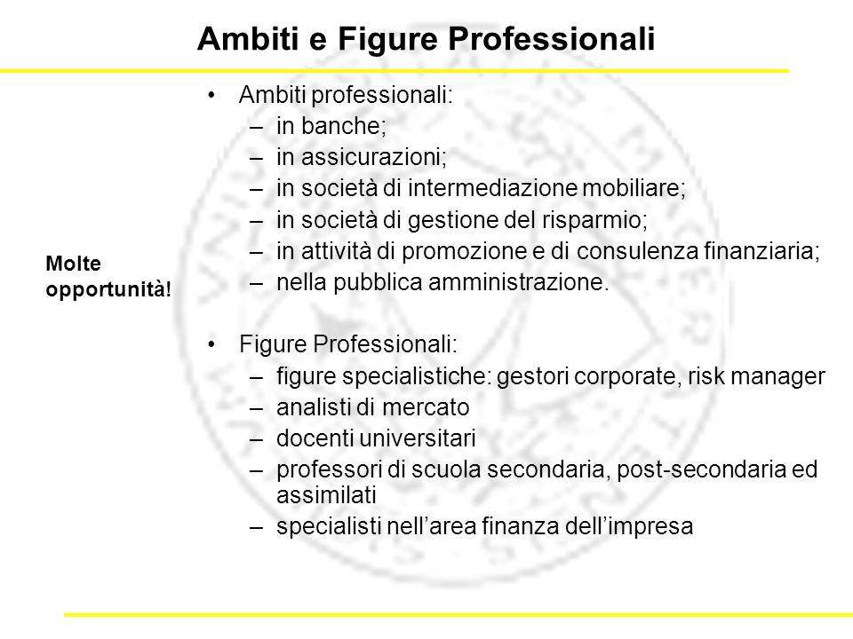 Ambiti e Figure Professionali Ambiti professionali: –in banche; –in assicurazioni; –in società di intermediazione mobiliare; –in società di gestione del risparmio; –in attività di promozione e di consulenza finanziaria; –nella pubblica amministrazione.