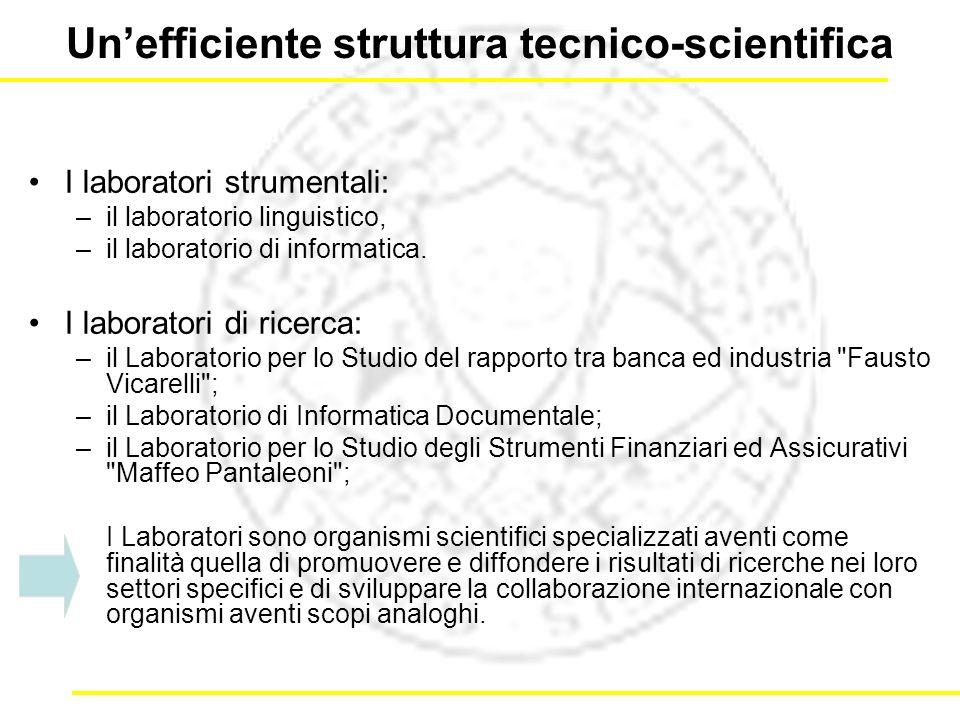 Unefficiente struttura tecnico-scientifica I laboratori strumentali: –il laboratorio linguistico, –il laboratorio di informatica.