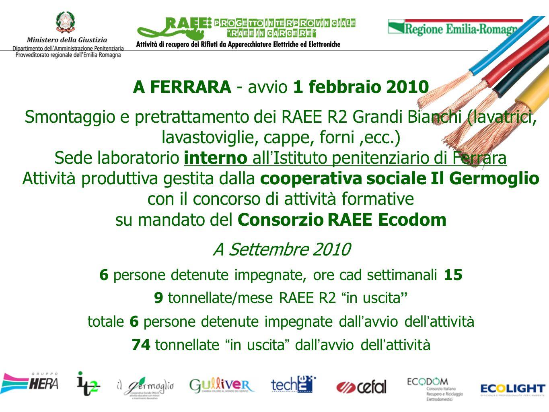 A FERRARA - avvio 1 febbraio 2010 Smontaggio e pretrattamento dei RAEE R2 Grandi Bianchi (lavatrici, lavastoviglie, cappe, forni,ecc.) Sede laboratori