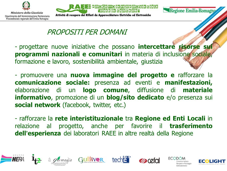 PROPOSITI PER DOMANI - progettare nuove iniziative che possano intercettare risorse sui programmi nazionali e comunitari in materia di inclusione soci