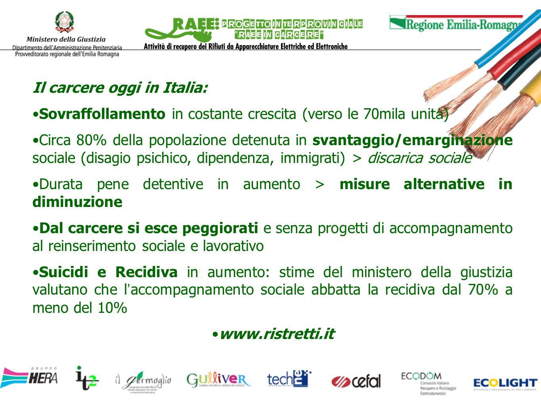 Il carcere oggi in Italia: Sovraffollamento in costante crescita (verso le 70mila unit à ) Circa 80% della popolazione detenuta in svantaggio/emargina