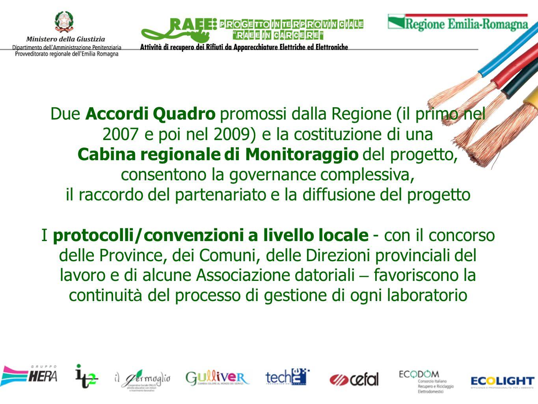 Due Accordi Quadro promossi dalla Regione (il primo nel 2007 e poi nel 2009) e la costituzione di una Cabina regionale di Monitoraggio del progetto, c