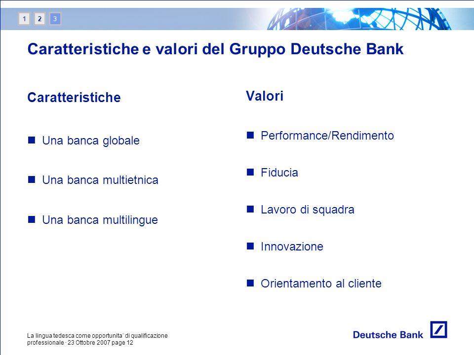 La lingua tedesca come opportunita di qualificazione professionale · 23 Ottobre 2007 page 12 Valori Performance/Rendimento Fiducia Lavoro di squadra I
