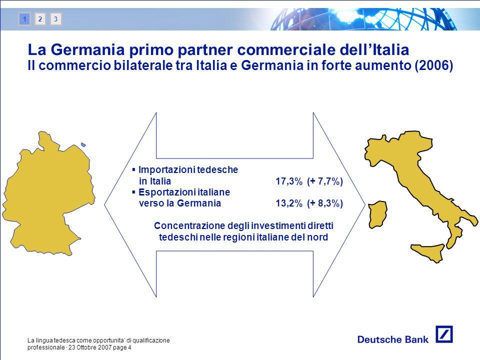 La lingua tedesca come opportunita di qualificazione professionale · 23 Ottobre 2007 page 4 La Germania primo partner commerciale dellItalia Il commer