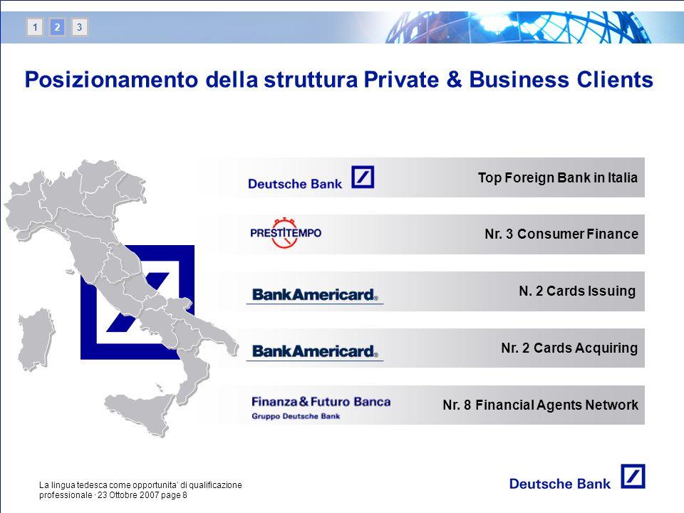 La lingua tedesca come opportunita di qualificazione professionale · 23 Ottobre 2007 page 8 Nr. 3 Consumer Finance Top Foreign Bank in Italia N. 2 Car