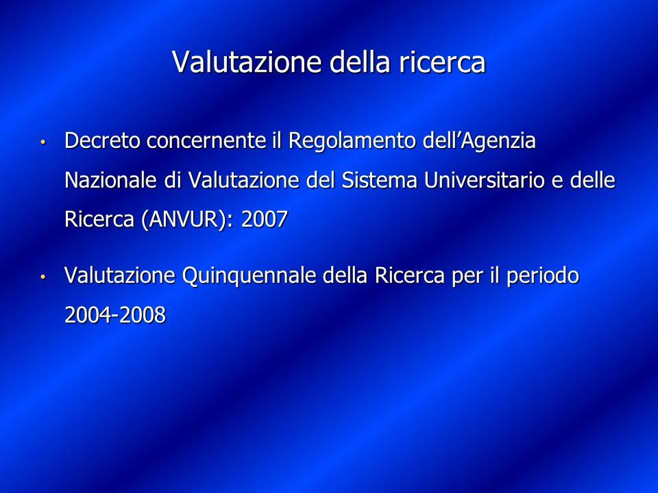 Valutazione della ricerca Decreto concernente il Regolamento dellAgenzia Nazionale di Valutazione del Sistema Universitario e delle Ricerca (ANVUR): 2