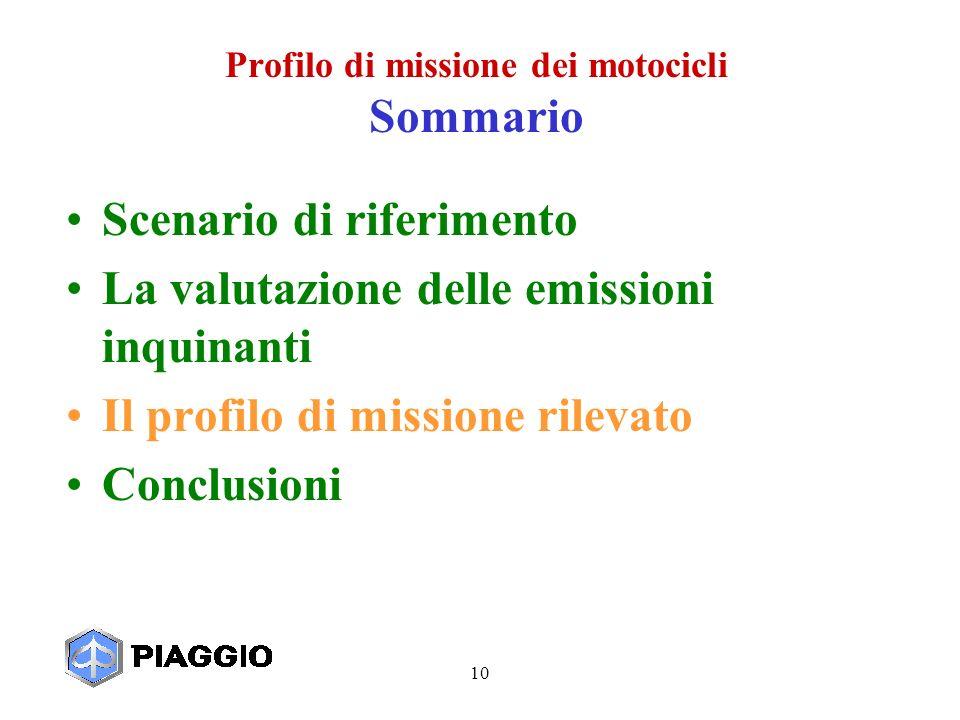 10 Profilo di missione dei motocicli Sommario Scenario di riferimento La valutazione delle emissioni inquinanti Il profilo di missione rilevato Conclusioni