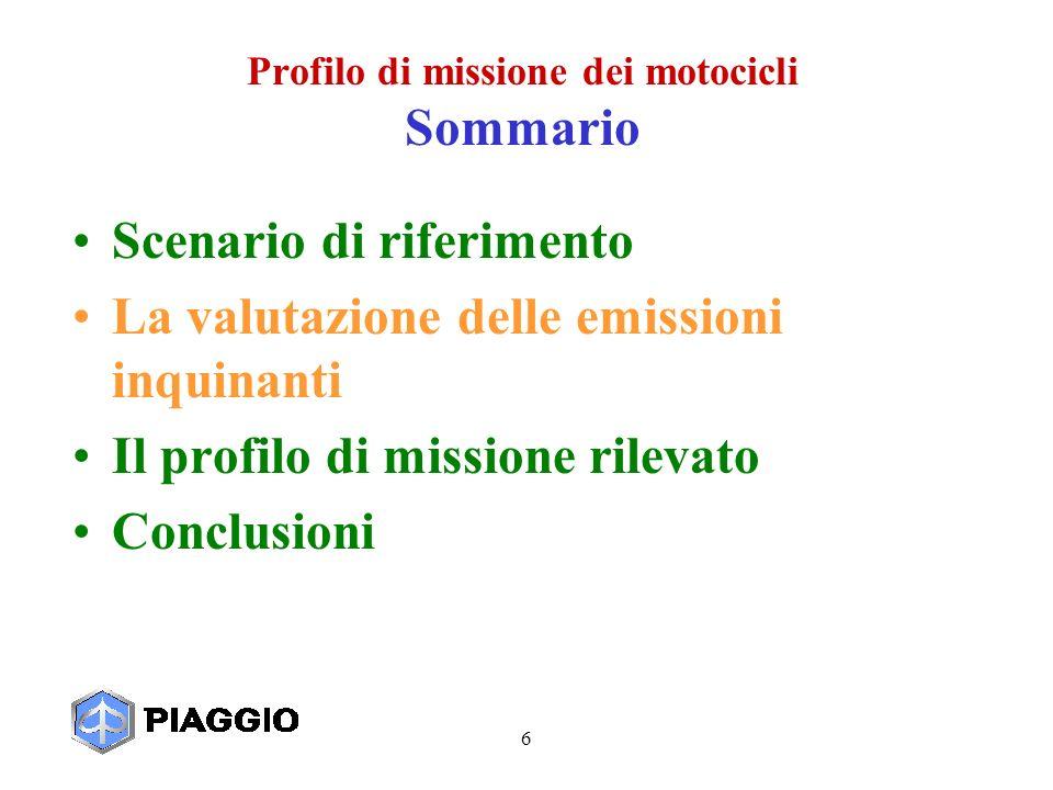 6 Profilo di missione dei motocicli Sommario Scenario di riferimento La valutazione delle emissioni inquinanti Il profilo di missione rilevato Conclusioni