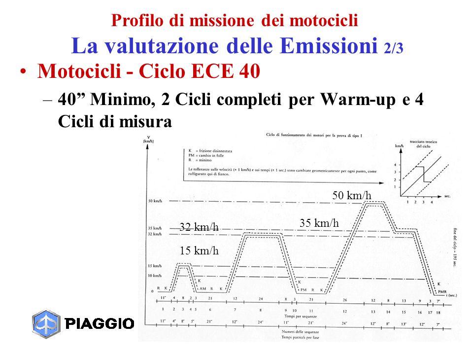 8 Motocicli - Ciclo ECE 40 –40 Minimo, 2 Cicli completi per Warm-up e 4 Cicli di misura 50 km/h 35 km/h 32 km/h 15 km/h Profilo di missione dei motocicli La valutazione delle Emissioni 2/3