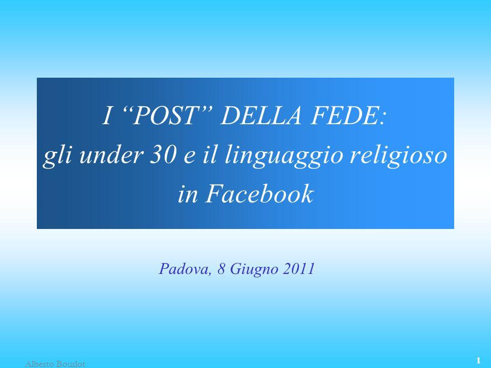 Alberto Bourlot 1 I POST DELLA FEDE: gli under 30 e il linguaggio religioso in Facebook Padova, 8 Giugno 2011