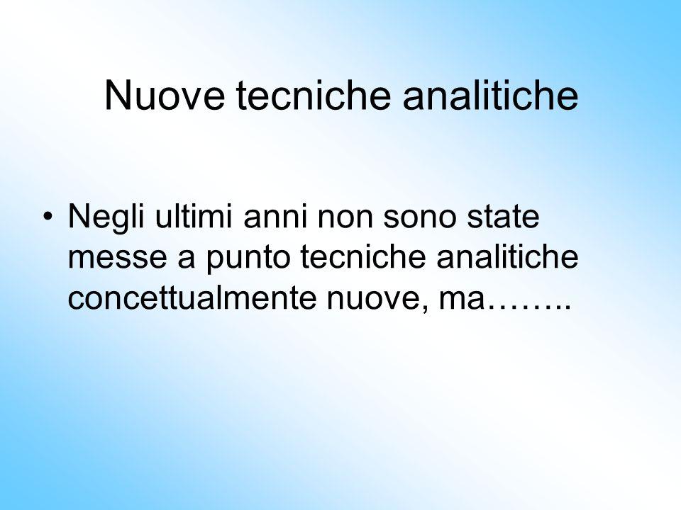 Nuove tecniche analitiche Negli ultimi anni non sono state messe a punto tecniche analitiche concettualmente nuove, ma……..