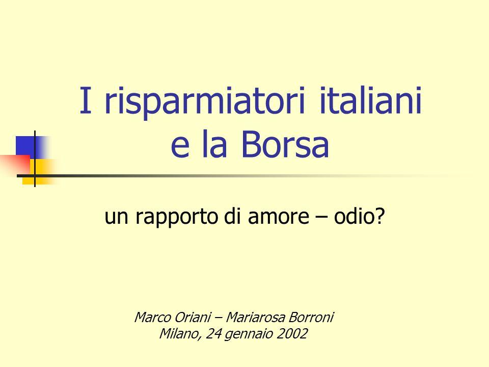 I risparmiatori italiani e la Borsa un rapporto di amore – odio? Marco Oriani – Mariarosa Borroni Milano, 24 gennaio 2002