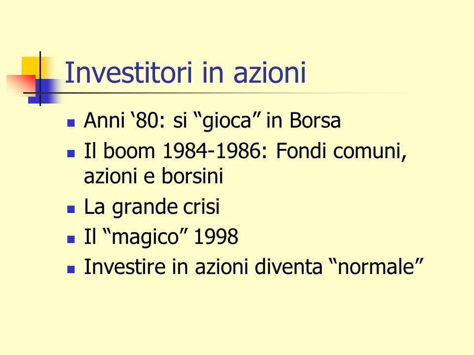 Investitori in azioni Anni 80: si gioca in Borsa Il boom 1984-1986: Fondi comuni, azioni e borsini La grande crisi Il magico 1998 Investire in azioni