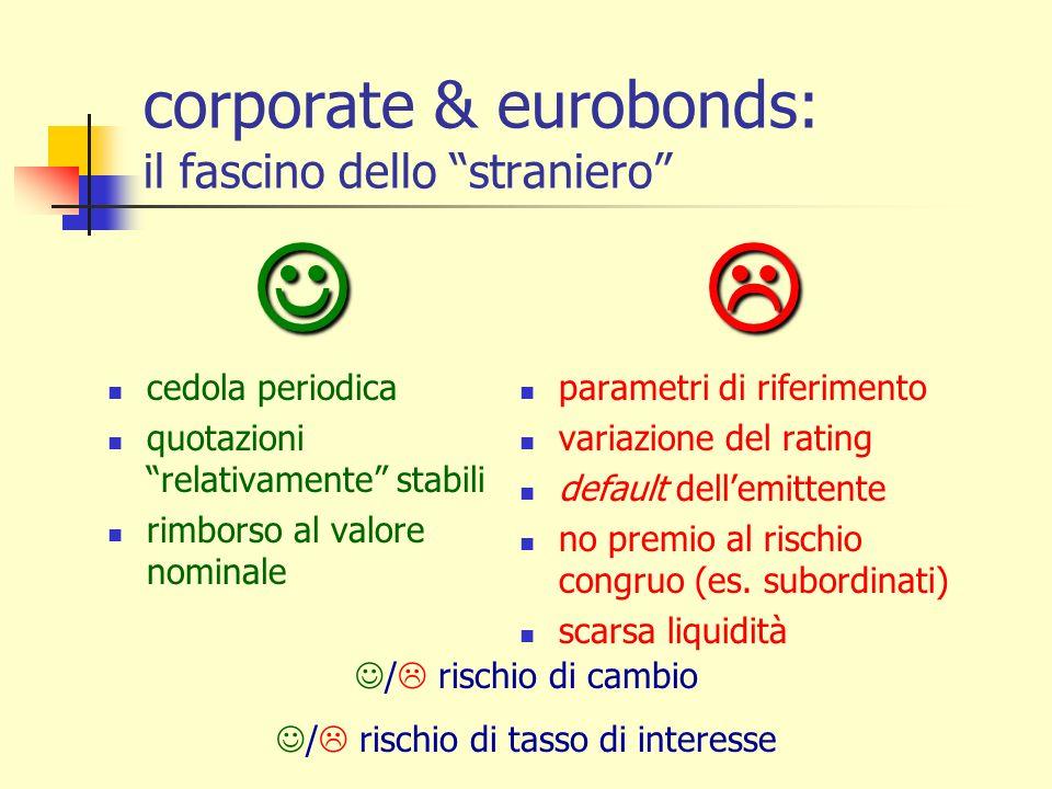 corporate & eurobonds: il fascino dello straniero cedola periodica quotazioni relativamente stabili rimborso al valore nominale parametri di riferimen
