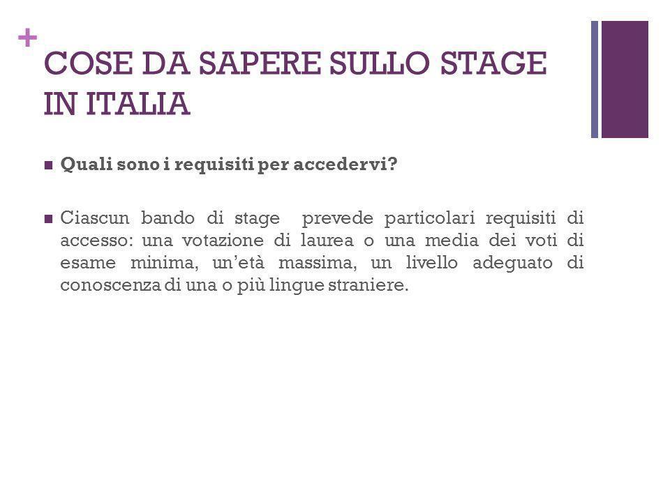 + COSE DA SAPERE SULLO STAGE IN ITALIA Quali sono i requisiti per accedervi? Ciascun bando di stage prevede particolari requisiti di accesso: una vota