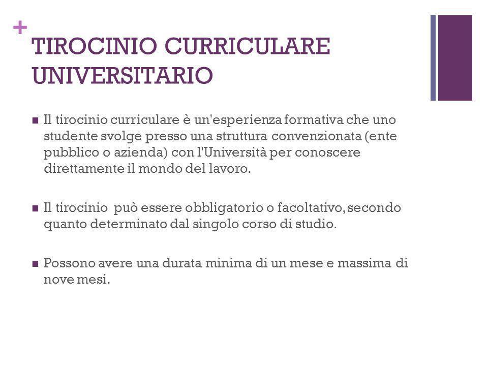 + TIROCINIO CURRICULARE UNIVERSITARIO Il tirocinio curriculare è un'esperienza formativa che uno studente svolge presso una struttura convenzionata (e