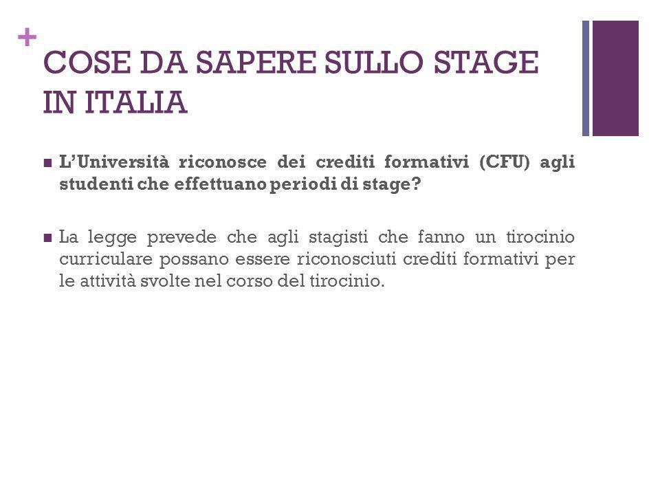 + COSE DA SAPERE SULLO STAGE IN ITALIA LUniversità riconosce dei crediti formativi (CFU) agli studenti che effettuano periodi di stage? La legge preve
