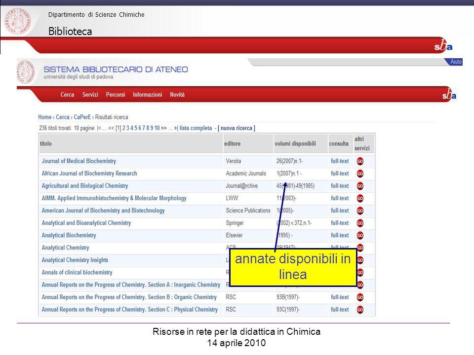 Risorse in rete per la didattica in Chimica 14 aprile 2010 Dipartimento di Scienze Chimiche Biblioteca annate disponibili in linea