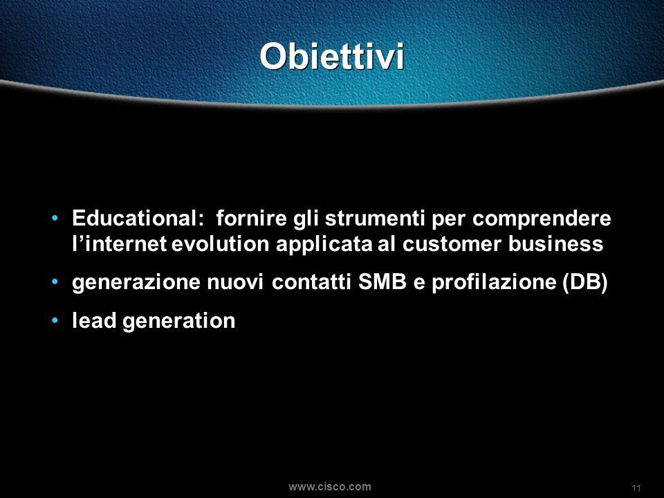 11 www.cisco.com Obiettivi Educational: fornire gli strumenti per comprendere linternet evolution applicata al customer business generazione nuovi contatti SMB e profilazione (DB) lead generation