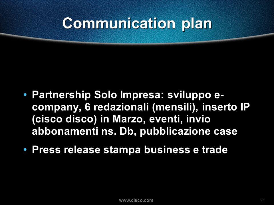 19 www.cisco.com Communication plan Partnership Solo Impresa: sviluppo e- company, 6 redazionali (mensili), inserto IP (cisco disco) in Marzo, eventi, invio abbonamenti ns.