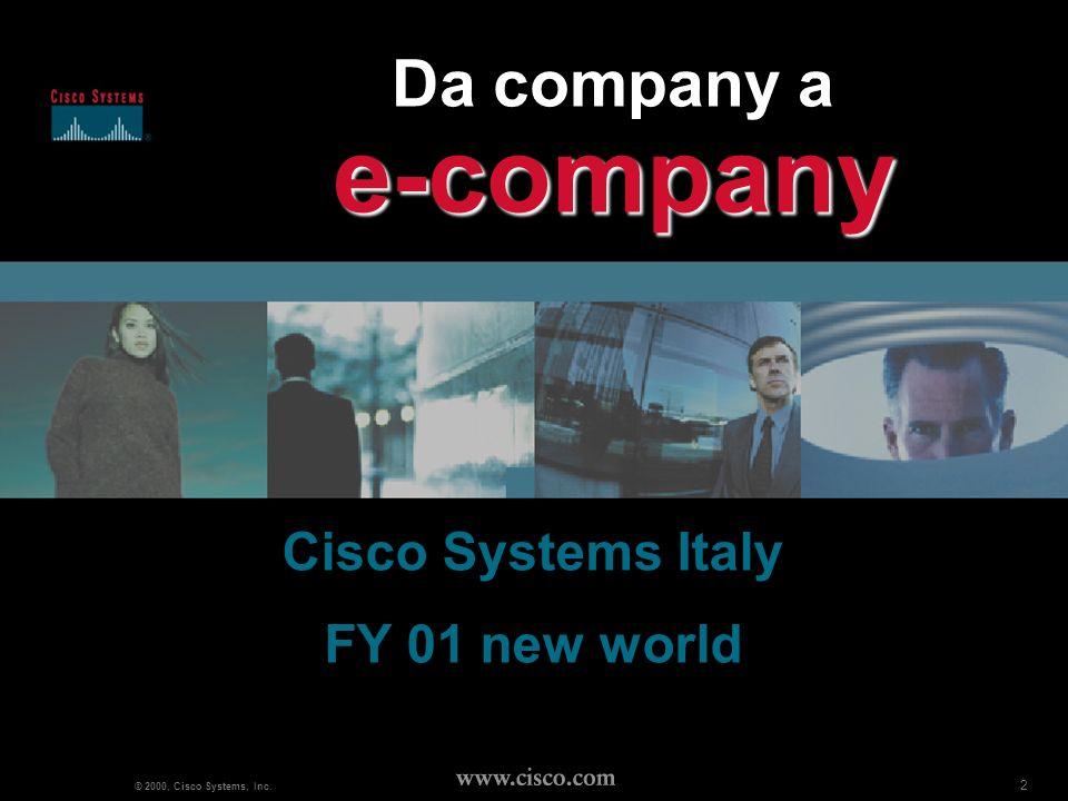 13 www.cisco.com Marketing plan : DM 5 fasi (FY01): teaser, e-company overview, email step, e-marketing step, e-commerce step (ultime 2 fasi inizio FY02) CISCO DISCO, il teaser: inserto IP su Italia Oggi, Milano Finanza e Solo Impresa (260k copie tot.) grafica campagna TV, lancio naming e concept e- company E-company overview: DM a 20k E.U.(SMB+Territory) - 15k reseller 3-4-5-fase: declinazione singolo step su piattaforma, veicolazione delloffering cisco su DM database profilato e pre-selezionato