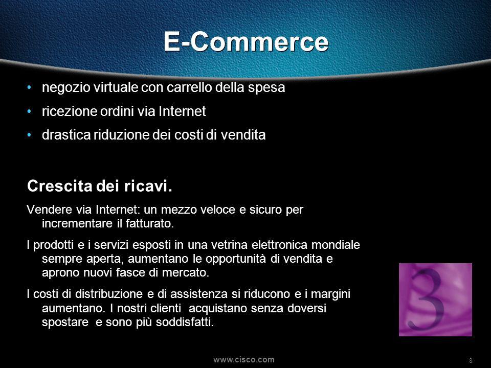 8 www.cisco.com E-Commerce negozio virtuale con carrello della spesa ricezione ordini via Internet drastica riduzione dei costi di vendita Crescita dei ricavi.