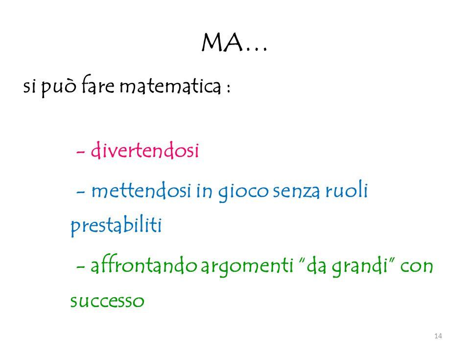 MA… si può fare matematica : - divertendosi - mettendosi in gioco senza ruoli prestabiliti - affrontando argomenti da grandi con successo 14