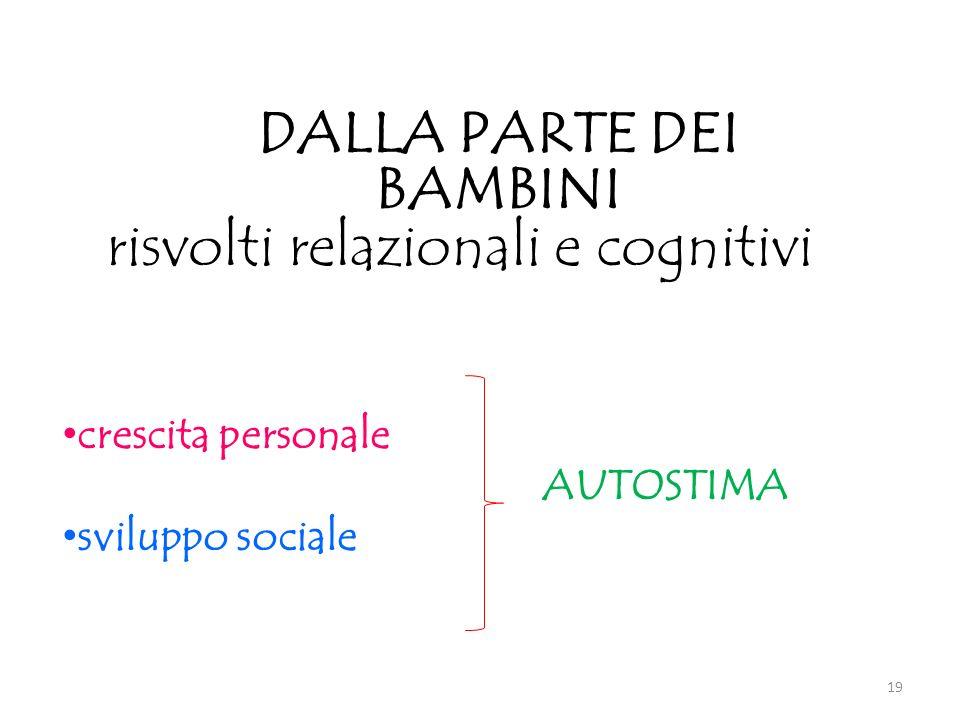 crescita personale AUTOSTIMA sviluppo sociale DALLA PARTE DEI BAMBINI risvolti relazionali e cognitivi 19
