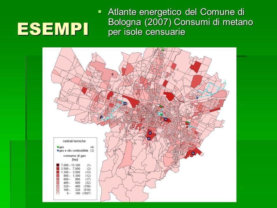 ESEMPI Atlante energetico del Comune di Bologna (2007) Consumi di metano per isole censuarie Atlante energetico del Comune di Bologna (2007) Consumi di metano per isole censuarie