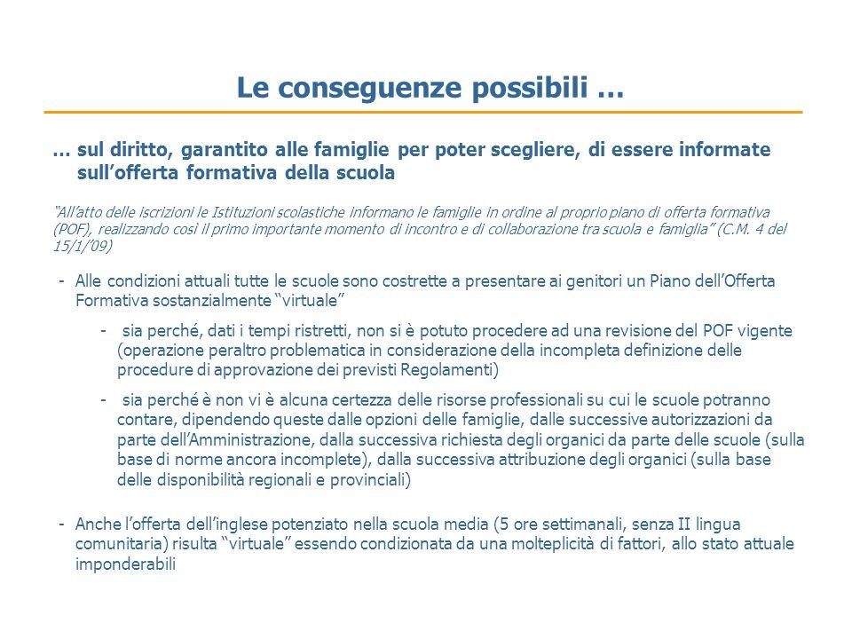 Le conseguenze possibili … Allatto delle iscrizioni le Istituzioni scolastiche informano le famiglie in ordine al proprio piano di offerta formativa (