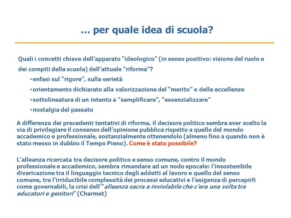 … per quale idea di scuola? Quali i concetti chiave dellapparato ideologico (in senso positivo: visione del ruolo e dei compiti della scuola) dellattu