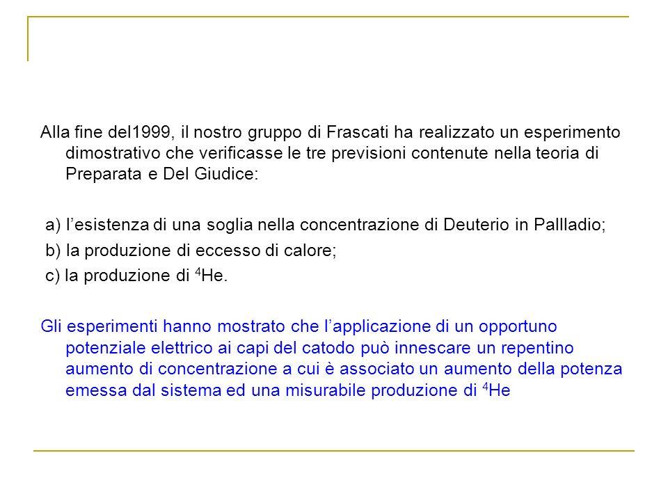 Alla fine del1999, il nostro gruppo di Frascati ha realizzato un esperimento dimostrativo che verificasse le tre previsioni contenute nella teoria di