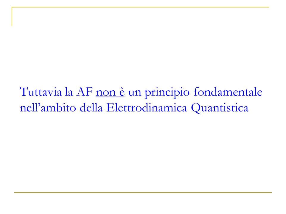 Tuttavia la AF non è un principio fondamentale nellambito della Elettrodinamica Quantistica