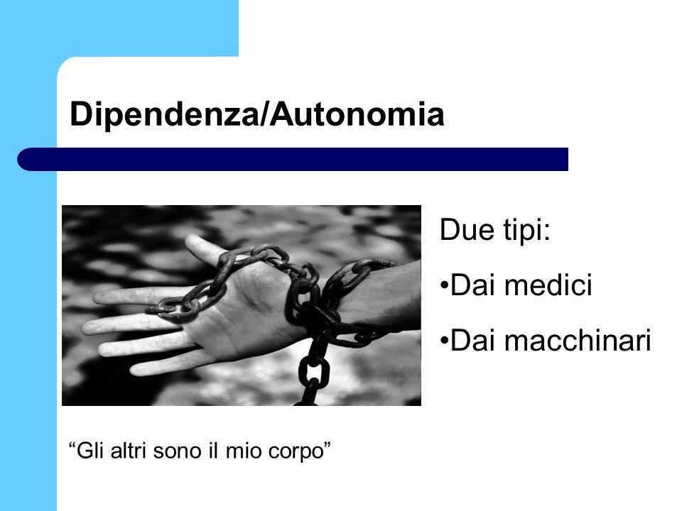 Dipendenza/Autonomia Gli altri sono il mio corpo Due tipi: Dai medici Dai macchinari
