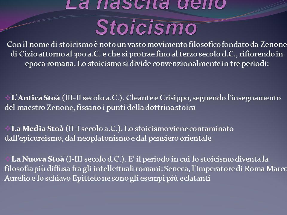 Caratteri fondamentali dello Stoicismo 3. Il dominio sulle passioni 1.Tutto è lògos 2. Il fato