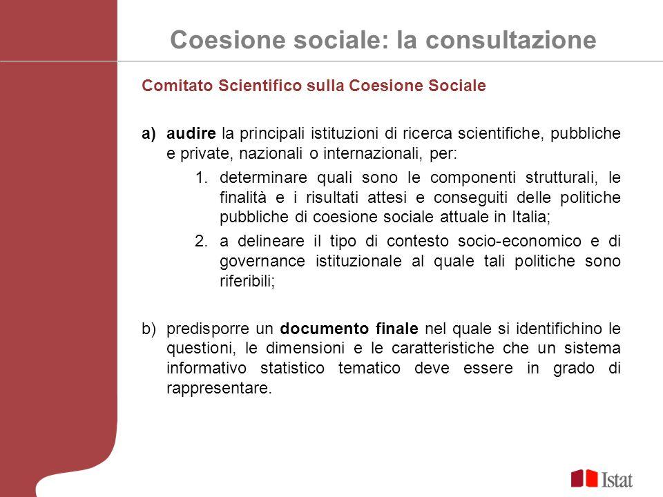 Coesione sociale: la consultazione Comitato Scientifico sulla Coesione Sociale a)audire la principali istituzioni di ricerca scientifiche, pubbliche e