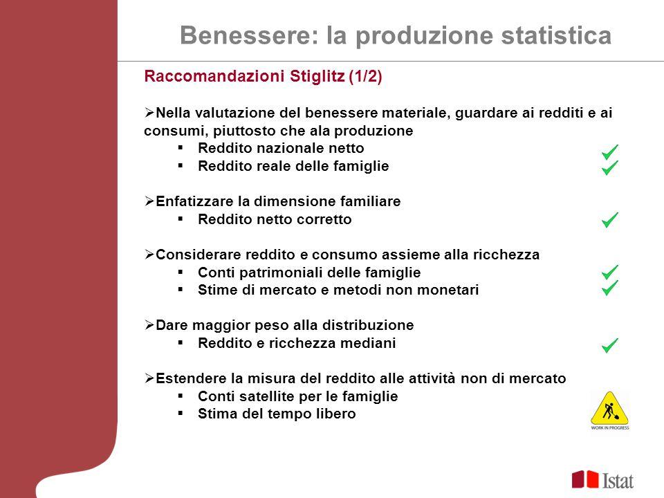 Raccomandazioni Stiglitz (1/2) Nella valutazione del benessere materiale, guardare ai redditi e ai consumi, piuttosto che ala produzione Reddito nazio