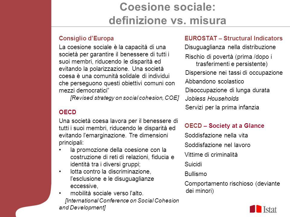 Coesione sociale: definizione vs. misura Consiglio dEuropa La coesione sociale è la capacità di una società per garantire il benessere di tutti i suoi