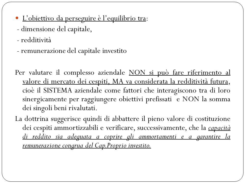 Lobiettivo da perseguire è lequilibrio tra: - dimensione del capitale, - redditività - remunerazione del capitale investito Per valutare il complesso
