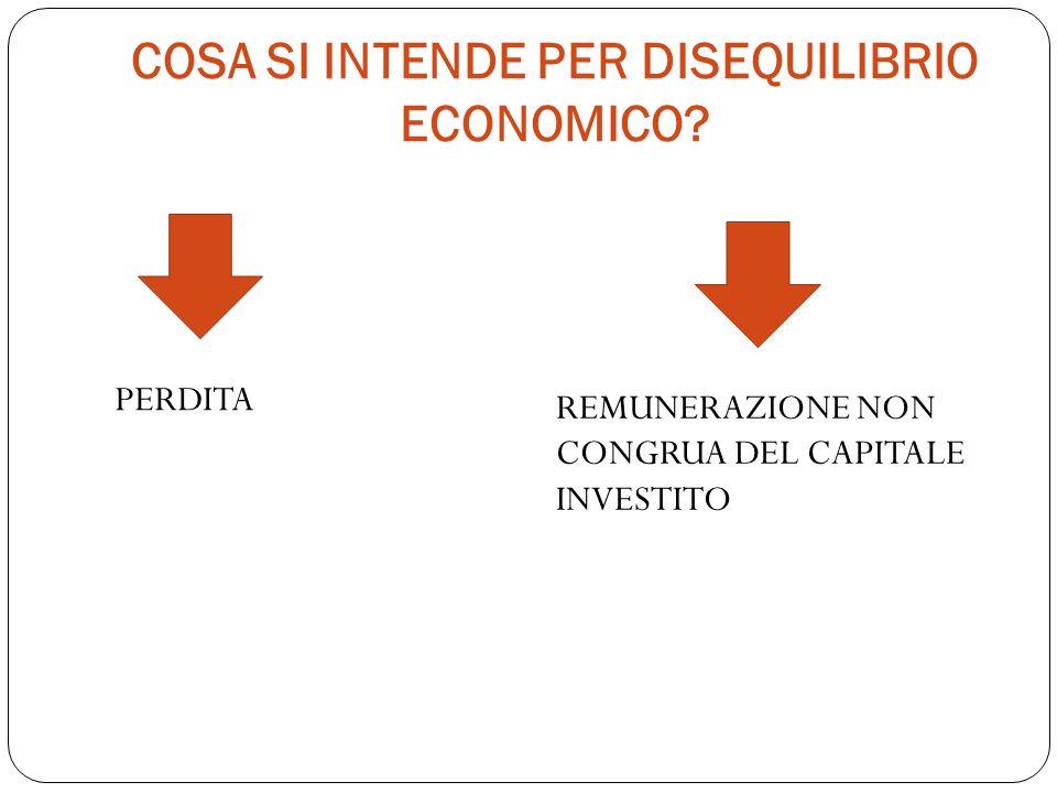 COSA SI INTENDE PER DISEQUILIBRIO ECONOMICO? REMUNERAZIONE NON CONGRUA DEL CAPITALE INVESTITO PERDITA